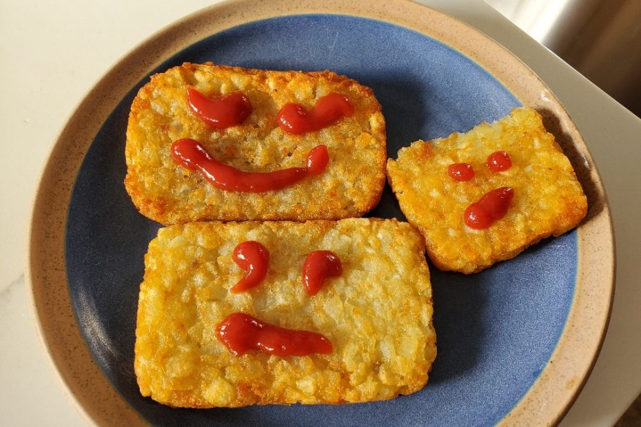 hashbrowns with ketchup funny faces