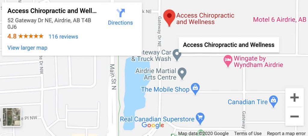 map of Airdrie Alberta showing where Access Chiropractic and Wellness is located